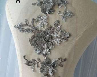 3D Beaded lace applique bridal veil Patches Trim Collar Wedding Bodice gown lace applique veils headpieces gowns Accessories S0579