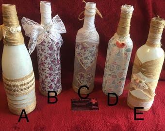 Upcycled Bottles. #shabbychic. #Decorativebottles