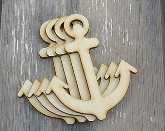 Set of 4 Wood Anchor Cut Out, Unfinished Anchor Ornament, Nautical Anchor Ornament, Unfinished Anchor, Laser Cut Anchor