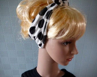 polka dot hair scarf, fifties style scarf, white spotted hair wrap, 50's pin up rockabilly style