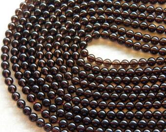 6mm A Grade Smoky Quartz Round Polished Semi-Precious Beads, Full or Half Strand (IND1C575)