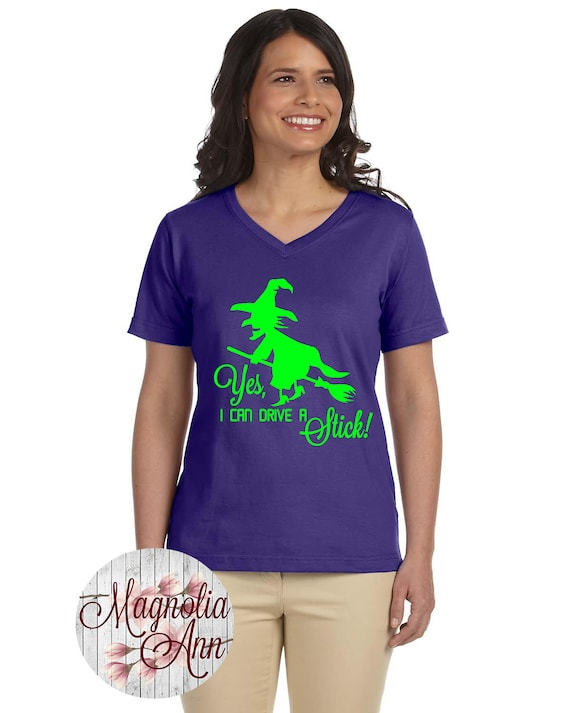 Yes I Can Drive A Stick, Witch, Halloween,Women's Premium Jersey V-Neck T-shirt in Sizes Small-4X, Plus Size Clothing, Plus Size Halloween