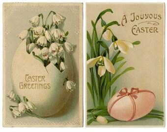 Easter postcards vintage set antique collectible art copyright free images vintage ephemera scrapbooking art design joy