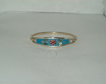 Mother of Pearl Bangle Bracelet- Made in Mexico- Alpaca (Plated)
