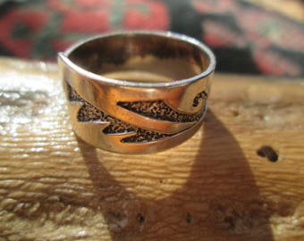 Native American Sterling Silver Hopi Style Overlay Band Ring Size 9.5