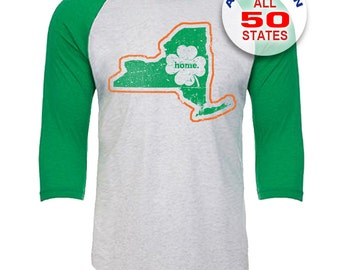 New York Home State Irish Shamrock - Unisex Tri-Blend 3/4 Sleeve Raglan Baseball T-Shirt - Sizes XS-3XL in 13 Colors!