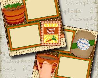 CARROT SEEDS - Gardening - 2 Premade Scrapbook Pages - EZ Layout 2711