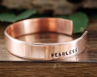 Copper Fearless Bracelet, Rose Gold, Mantra Jewelry, Gift for Her, Yoga Jewelry, Fearless Jewelry Gift, Inspirational Gift, Cuff Bracelet
