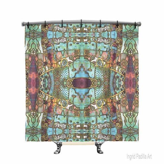 BOHO Shower Curtain, Bohemian, Blue, Shower curtain, shower curtain art, Boho Chic shower curtain, Fabric shower curtain, Bath Decor, Decor