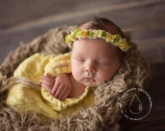 NEWBORN FLOWER CROWN {Caroline} Floral Crown - Newborn Halo - Newborn Headband - Newborn Photo Prop - Newborn Crown - Photography Props