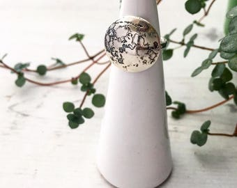 Etched full moon statement ring eco sterling silver