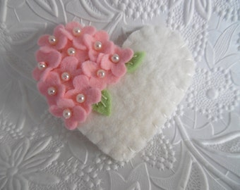 Pink Felt Flower Brooch  Beaded Heart  Wool Beaded Flowers