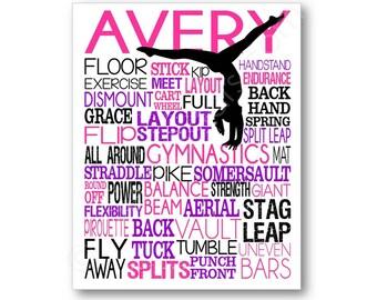 La gymnastique affiche Art typographie, cadeau de gymnastique, gymnastique, gymnastique affiche, gymnaste équipe cadeau, cadeau de gymnaste, gymnaste Art impression sur toile