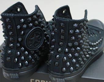 Genuine CONVERSE Monocrome-Black with Black studs All-star Chuck Taylor Sneakers Sheos
