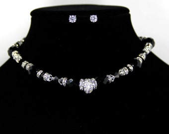 Bridesmaid Gift - Swarovski Crystal Necklace and 2 Ct. Cubic Zerconia Earring Set