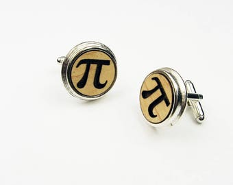 Pi Cufflinks - Wood Cuff Links With Pi Symbol In Circle Shape - Mens Suit Accessory for Him