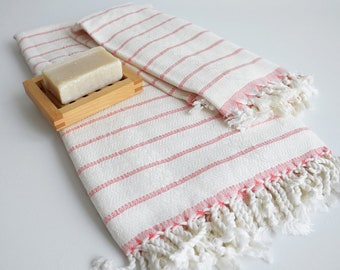 SALE 50 OFF / SET / Turkish Beach Bath Towel / Bamboo - Cotton / Coral Striped