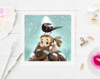 Snow girl art print, cute art, fairytale illustration, raven art, winter wonderland, cosy decor, home decor, snow scene, cute illustration