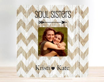 ON SALE  Friend Gift Best Friend Soul Sister Personalized  Picture Frame Sister Gift Personalized Picture Frame