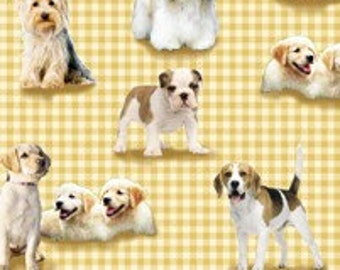 Puppies n' Kittens - Puppies on Gold Check Fabric