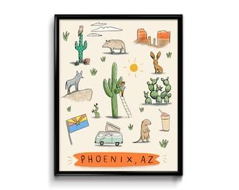 Phoenix Arizona Art Print - 8x10 - AZ