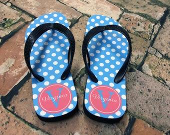 Custom Design YOUTH Size Kid's Monogram Flip Flops - Choice of Pattern, Color, Name & More - Personalized Flip Flop Children Sandals