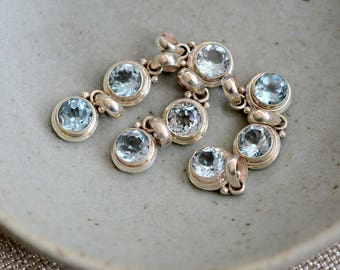 Blue Topaz Charm Sterling Silver Blue Topaz Pendant Small Faceted Blue Topaz Birthstone Gemstone Necklace Earrings Jewelry ,BID17-0212B