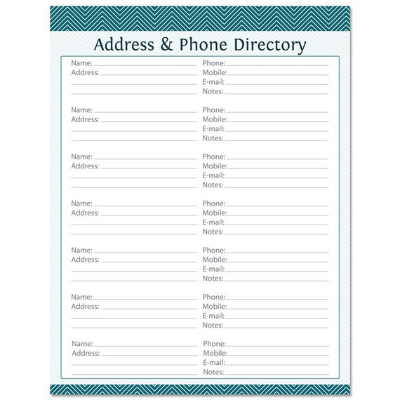 phone book template