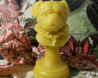 Beeswax Pug Puppy Dog Bust Candle