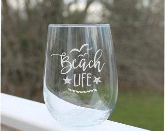 Beach wine glasses, etched wine glasses, Beach, Stemless wine glasses, Wine Glasses, Beach wine glass, Etched wine glasses, Fun Wine Glass