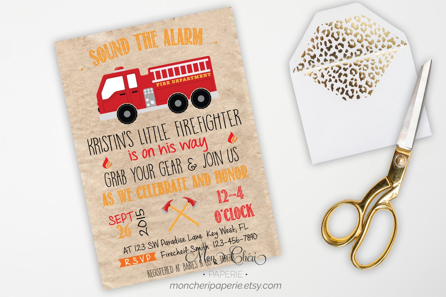Little Firefighter Baby Shower Invitation Fire Truck Baby