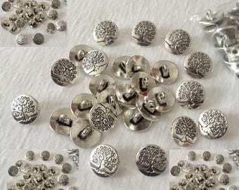 Round button style vintage pattern tree 14.5 mm set of 6 pieces antique silver 1 loop thread stitching