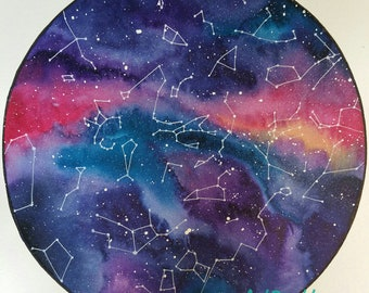 Custom Star Sky Painting; constellations and stars in watercolour