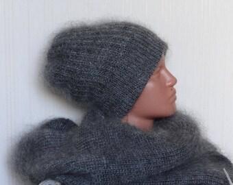 КОМПЛЕКТ шапка и  шарф  - козий пух