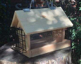 Cedar Bird Feeder with two Suet Feeder Attached