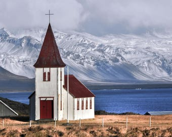 Iceland Photography, Hellnar Church, Snaefellsness Peninsula, Travel Photography, Photo Print