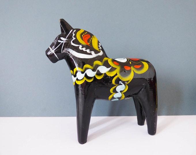 """Dala horse Black Large Sweden 6 3/4 """" Vintage MCM"""