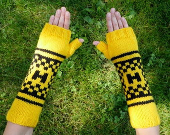 "Harry Potter Hufflepuff House Armwarmers - Hand Knit Fingerless Gloves - Wristwarmers - Yellow & Black Pattern Fingerless Mittens w ""H"" Logo"