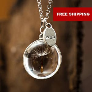 Real Dandelion Seed WISH Fairy necklace Minimalist Inspirational Raw Custom necklace Mothers Day gift idea, friend necklace, gift for women