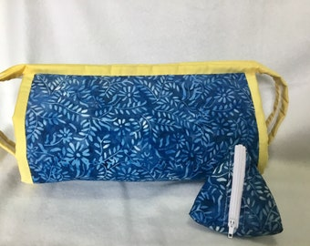Bionic gear  bag in blue and green batik  for sewing or make up, sew it together, quilting. Storage for crafts, pencil case, make