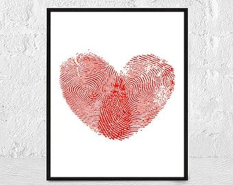 Red Heart Wall Art Print, Printable Art, Red Decor, Wall Art Printable, Digital Download Art, Heart Print, Home Decor 8x10 11x14 Wall Print