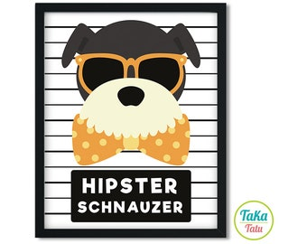 Hipster Schnauzer Wall Art - Schnauzer Print / Schnauzer Digital Art / Dog Wall Art / Dog Print / Schnauzer Mugshot / Dog Mugshot / Digital