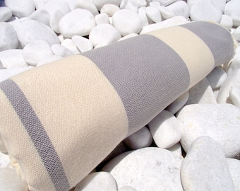 Set of 2-High Quality Hand Woven Turkish Cotton Bath,Beach,Spa,Yoga Towel or Sarong-Natural Cream and Grey