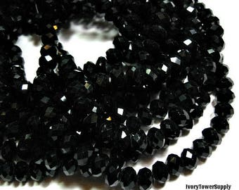 1 Strand 8mm Crystal Rondelle Beads, Glass Beads, Faceted beads, 6x8mm Black Beads