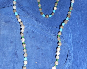 Jobs Tears Necklace with old blue glass beads