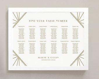 INSTANT DOWNLOAD   Printable Seating Chart Poster Template   Gatsby   Word or Pages   18x24   Editable Artwork Colors