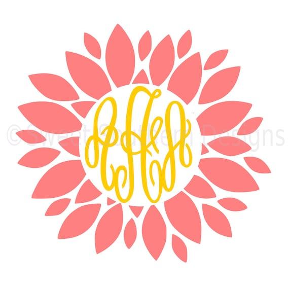 dahlia monogram flower svg dxf pdf instant download design for