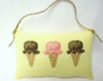 Ice Cream Cone Cross Stitch Hanging Mini Pillow, Dessert Door Pillow