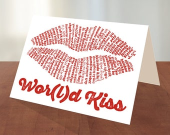 Wor(l)d Kiss - DIY Printable Valentines Day Card Templates