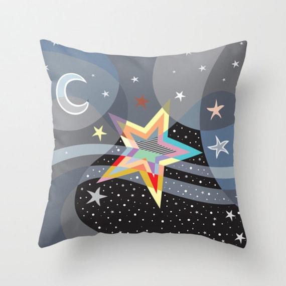 Star Decorative Pillow, Star Pillow, Moon Pillow,  colourful Pillow, Cute Pillow, Pillow Case, Geometric Pillow